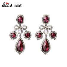 noble luxury charming red teardrops crystal chandelier party drop earrings factory whole
