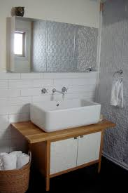 furniture wonderful small bathroom vanity sink unit using rectangular vessel basins on oak butcher block countertops