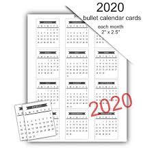 2020 Mini Calendar Cards Instant Download Commercial Use Allowed Printable Bullet Journal Calendar 2020 Us Letter Size Template