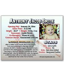 Sports Birth Announcement 08 Custom Sports Cards
