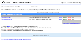 Email Deliver Email Barracuda Spam Quarantine Summary