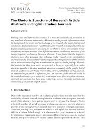 Journal Article The Rhetoric Structure Of Research Article Abstracts In English