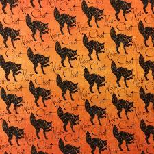 TT60 Halloween Black Noir Cat Spooky Scary Orange Quilt Cotton ... & TT60 Halloween Black Noir Cat Spooky Scary Orange Quilt Cotton Quilting  Fabric Adamdwight.com