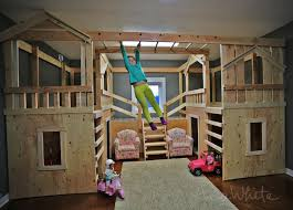 Build a basement indoor playground with monkey bars. Playhouses can be used  as beds or bunk beds. Free plans by Ana-White.com