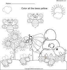medinakids color all the bees yellow worksheet