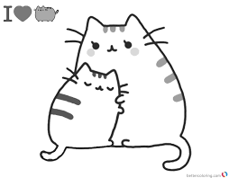 Pusheen Coloring Pages Mums Hug Free Printable Coloring Pages