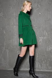 green short jacket modern warm wool winter coat mini length with asymmetrical on closure handmade