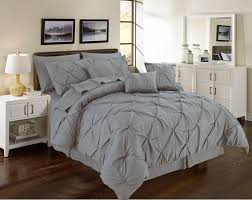 pintuck gray 11 piece comforter set over sized pinch pleated bedding with sheets california king com