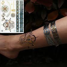 3 Pcs Kov Dočasné Tetování Květinová řada Romantická Série šetrný Vůči životnímu Prostředí Nový Design Tělesné Arts Tělo Paže Zápěstí Kovové