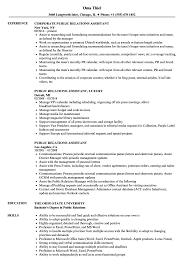 Public Relations Assistant Resume Samples Velvet Jobs