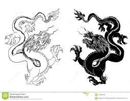 вектор изолята дракона китайская татуировка дракона традиционный