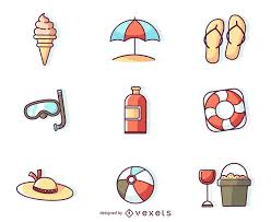 Summer Icons Flat Stroke Summer Icons Vector Download