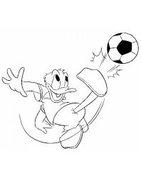 Disegno Di Paperino E Il Calcio Da Colorare Per Bambini