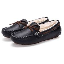 meeshine leather bowknot moccasins driving