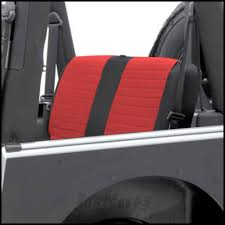 smittybilt xrc rear seat cover in red on black for 1980 95 jeep wrangler yj cj series