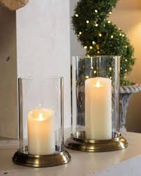 Astounding Clear Glass Hurricane Candle Holder With Satin Brass Base