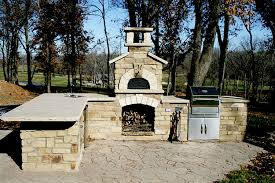 wood fire pizza oven stone outdoor kitchen built in stainless grill belgard mega