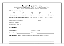 First Aid Report Form Template Incident Report Form Template