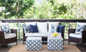 white patio furniture with blue