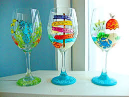 beach tropical wine glass denise loves art hand painted winegl by denise