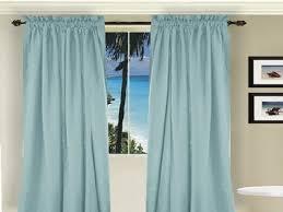 curtain design curtain window fabric modern style blue color plus black curtain rod end shaped