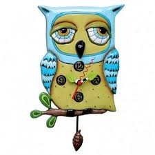 blue owl pendulum clock