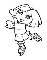 Small Picture Dora Playing Ice Skates on Winter Coloring Page Download Print