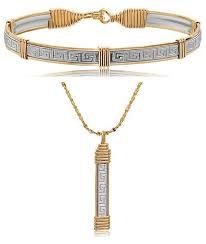greek key bracelet pendant set
