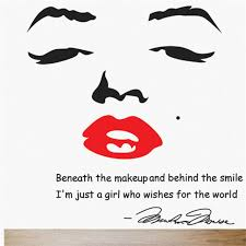Red Lipstick Quotes Unique Marilyn Monroe Wall Decal Removable Art Home Decor Quote Face Red