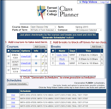 block schedule maker class planner tarrant county college