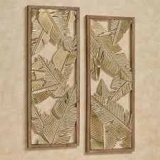 palm leaf wall art aged gold set of two
