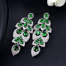 green chandelier earrings elegant flower leaf created emerald green long big crystal bridal chandelier earrings for