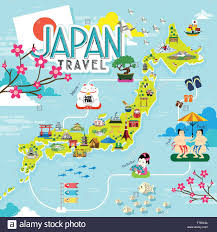 japan travel map with lovely famous attractions stock vector art