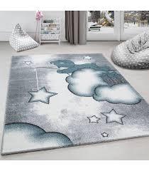 children s rug carpet design bear fishing for stars on cloud grey blue white