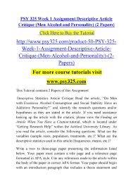 Psy 325 Week 1 Assignment Descriptive Article Critique Psy325com