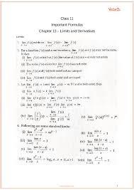 Cbse Class 11 Maths Chapter 13 Limits And Derivatives Formulas