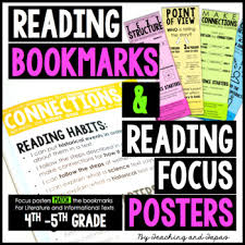 Reading Bookmarks Reading Focus Posters 4th 5th Grade
