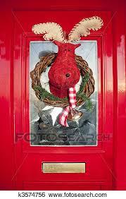 christmas front door clipart. Brilliant Front Bright Red Christmas Front Door With Handmade Reindeer Wreath On Christmas Front Door Clipart O