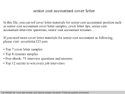 Senior Cost Accountant Cover Letter