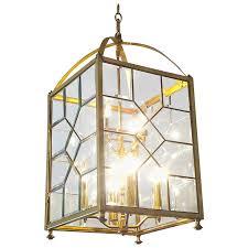 mid century modern brass and bevelled glass lantern chandelier for