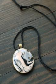 marbled clay pendant necklace