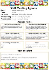 sample agendas for staff meetings staff meeting aussie childcare network