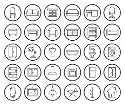 furniture clipart black and white. house furniture linear icons set. vector clip art illustrations isolated on white stock - clipart black and