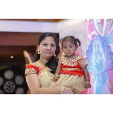 Mother Designer Chennai Beige And Red Netted Mirror Work Mom And Daughter Combo