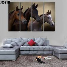 black horse painting canvas prints home decoration pictures wall art extra large horses modern decor animal