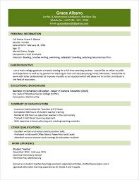 Examples Resumes Resume Example Personal Simple Standard Resume