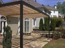 contemporary pergola over stone patio contemporary landscape