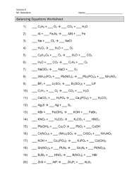 balancing chemical equations worksheet 1 answers semnext
