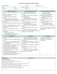 Observation Chart For Students Science Classroom Observation Checklist Teacher