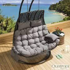 sentinel outdoor rattan 2 person garden hanging chair sunbed black grey 18